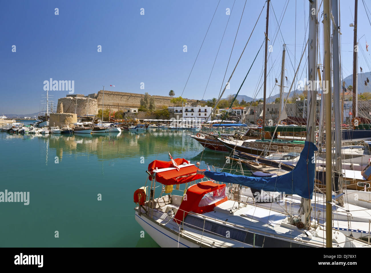 Old harbour and medieval castle in Kyrenia, Cyprus. - Stock Image