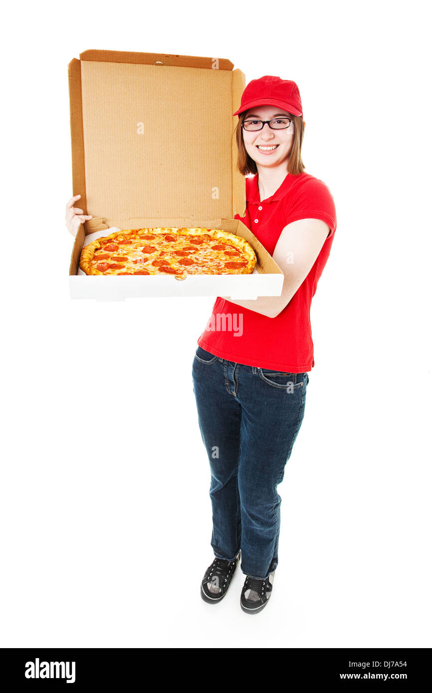 Cute teenage girl delivering pepperoni pizza. Full lbody isolated on white. - Stock Image