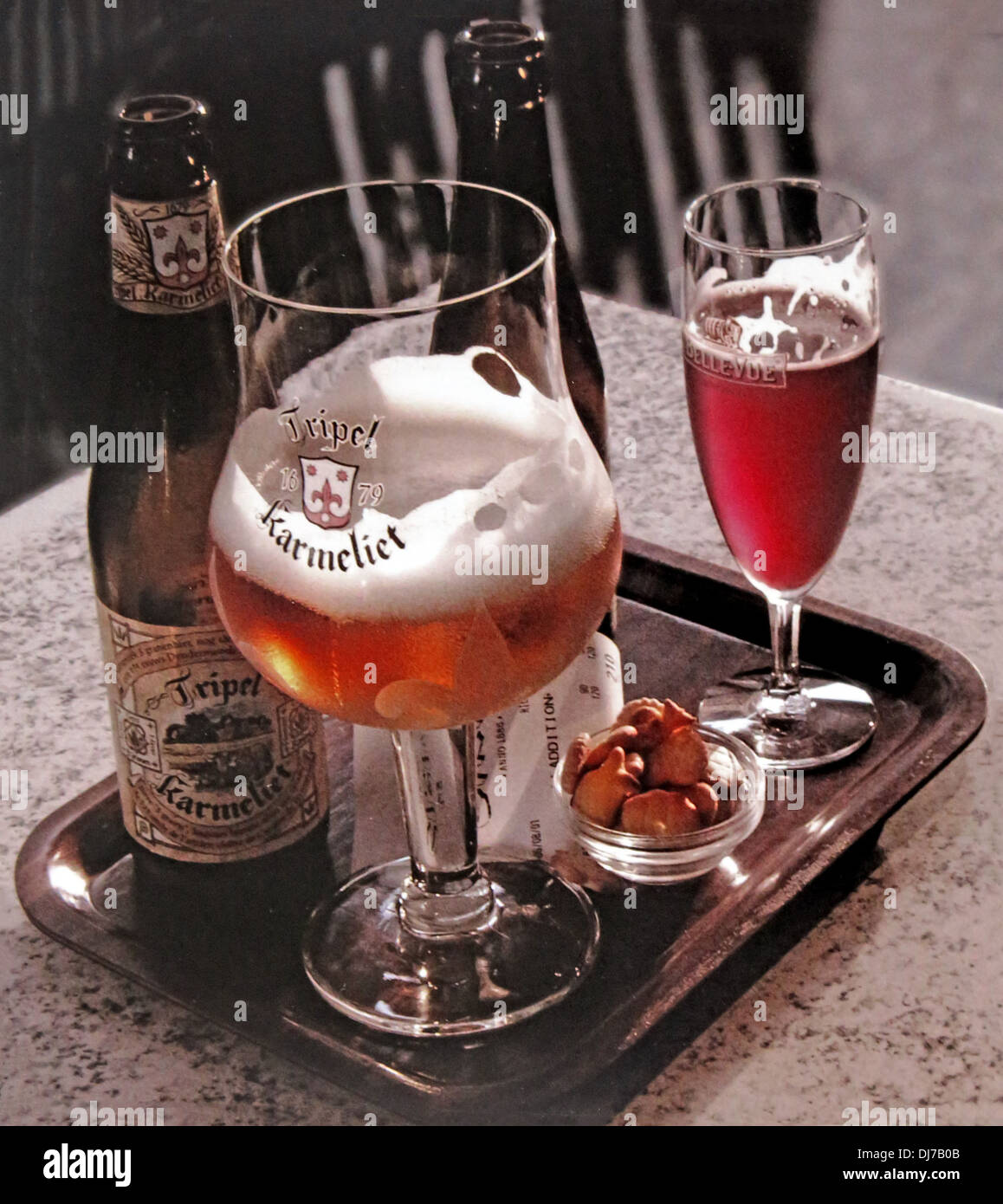 A tray of Belgian beers Karmelite in bottle and Framboise Stock Photo