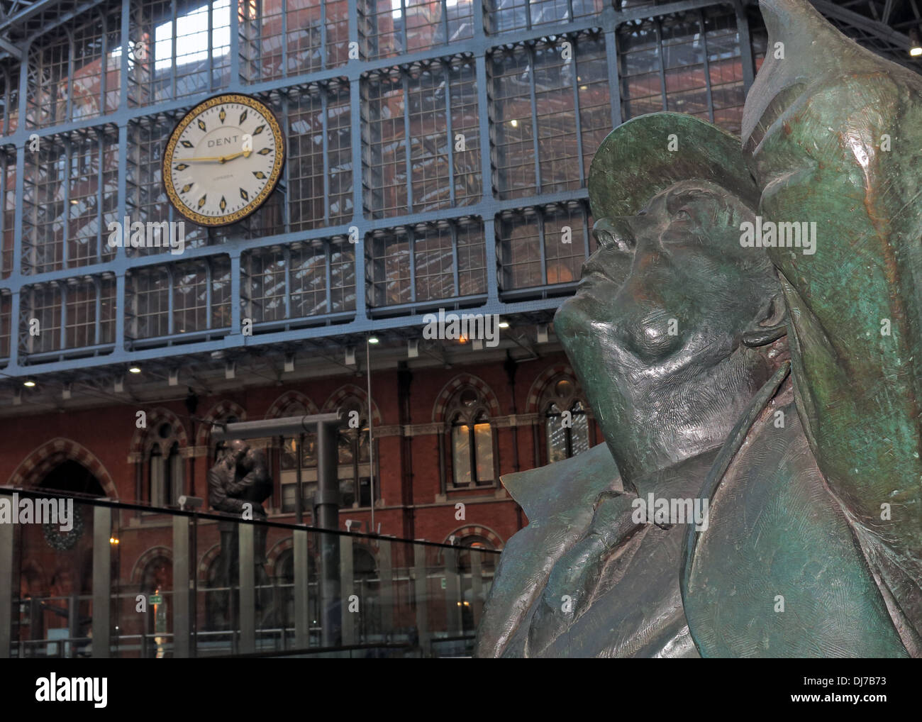 St Pancras Station interior Camden London England UK clock and Sir John Beteman - Stock Image