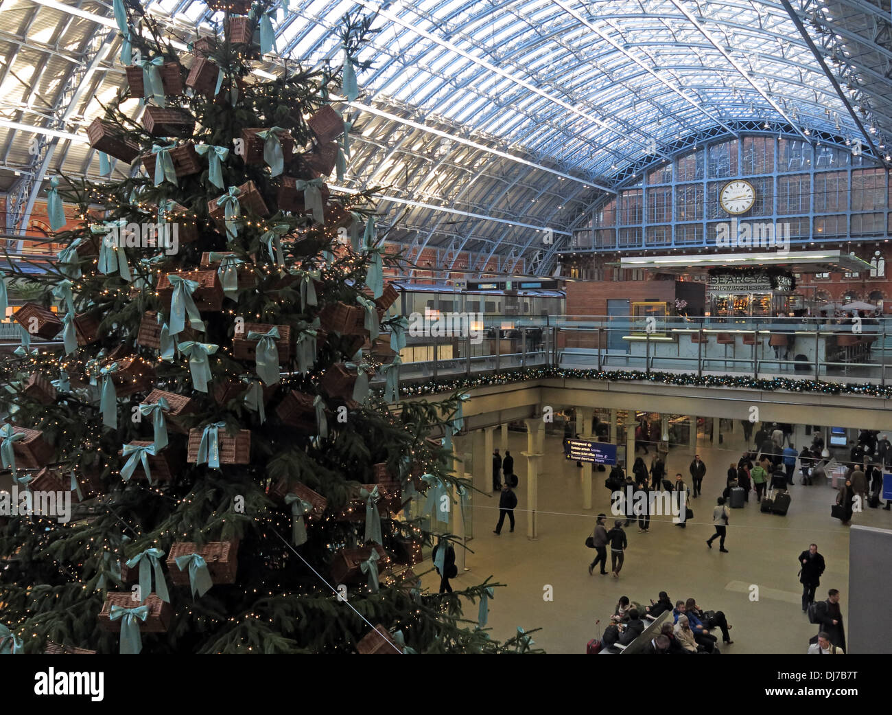 St Pancras railway station at Christmas London England UK - Stock Image