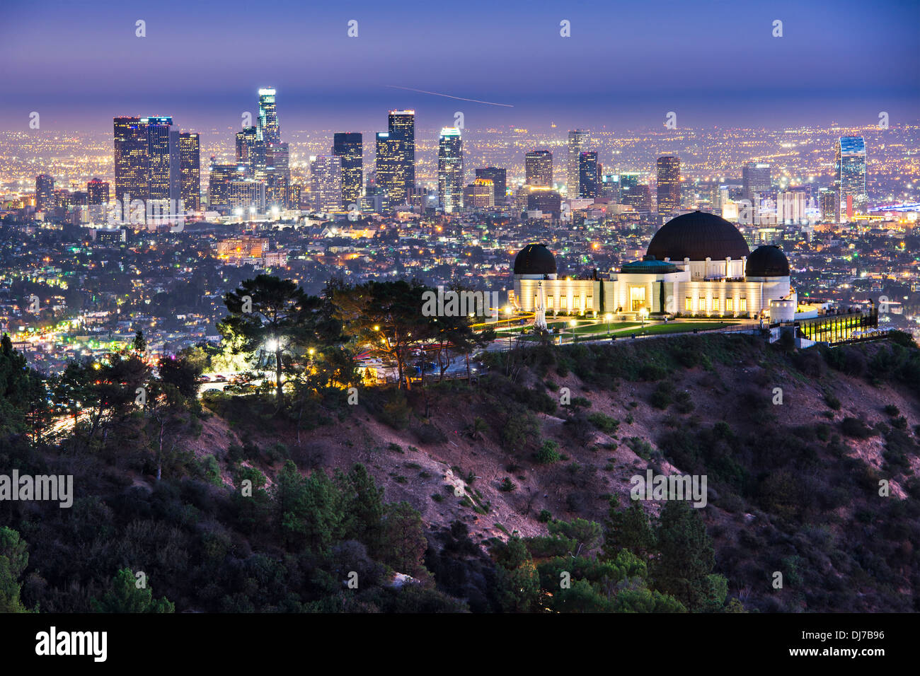 Griffith Obervatory and Downtown Los Angeles, California, USA skyline at dawn. - Stock Image