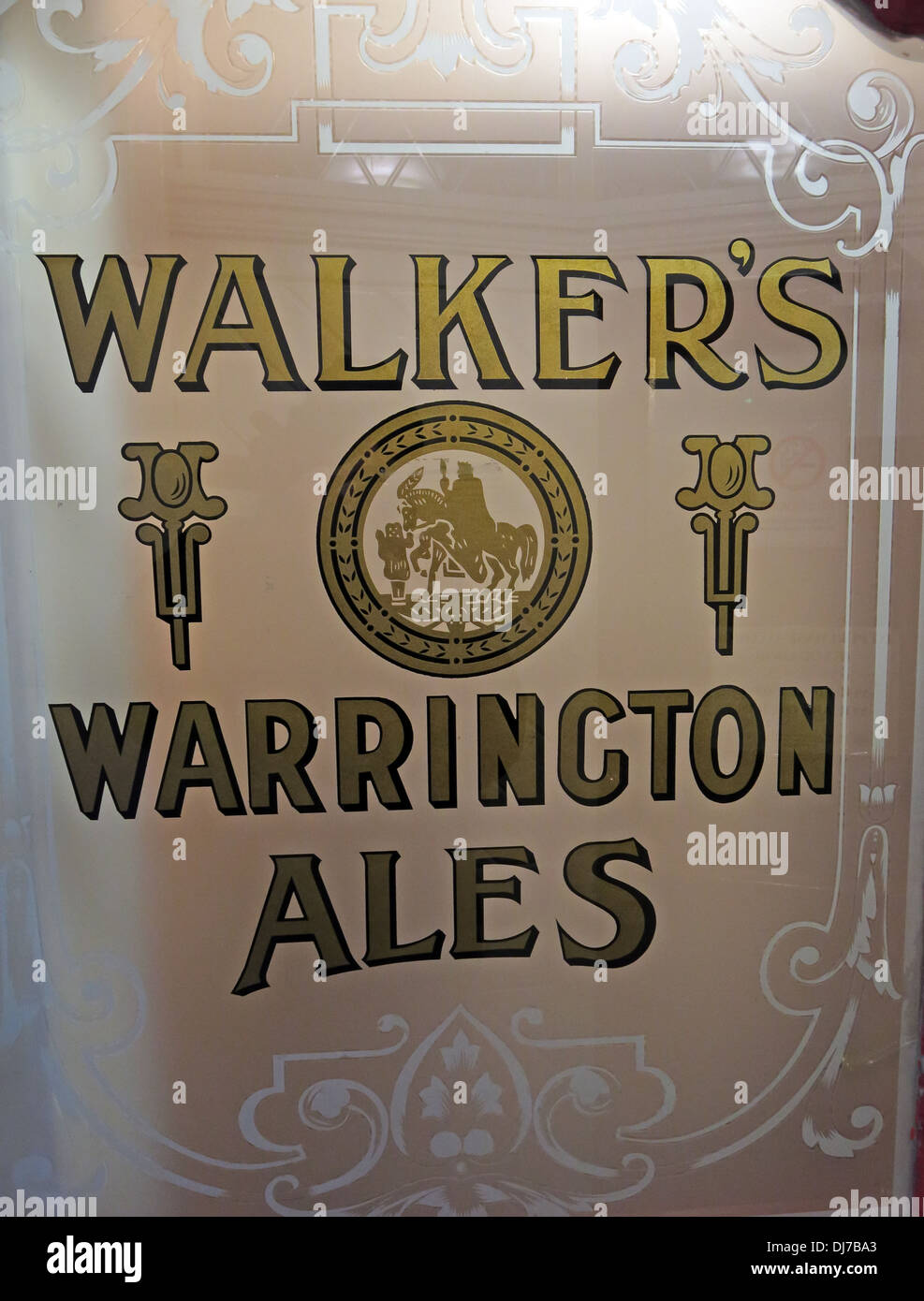 Walkers Warrington Ales gold door sign at the Lower Angel , Buttermarket st , Cheshire England - Stock Image