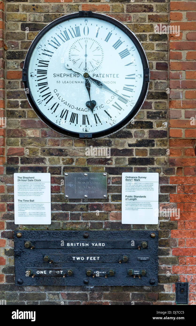 Shepherd patent 24-hour electric clock at Greenwich Observatory, Ordnance Survey benchmark and British public standard lengths - Stock Image