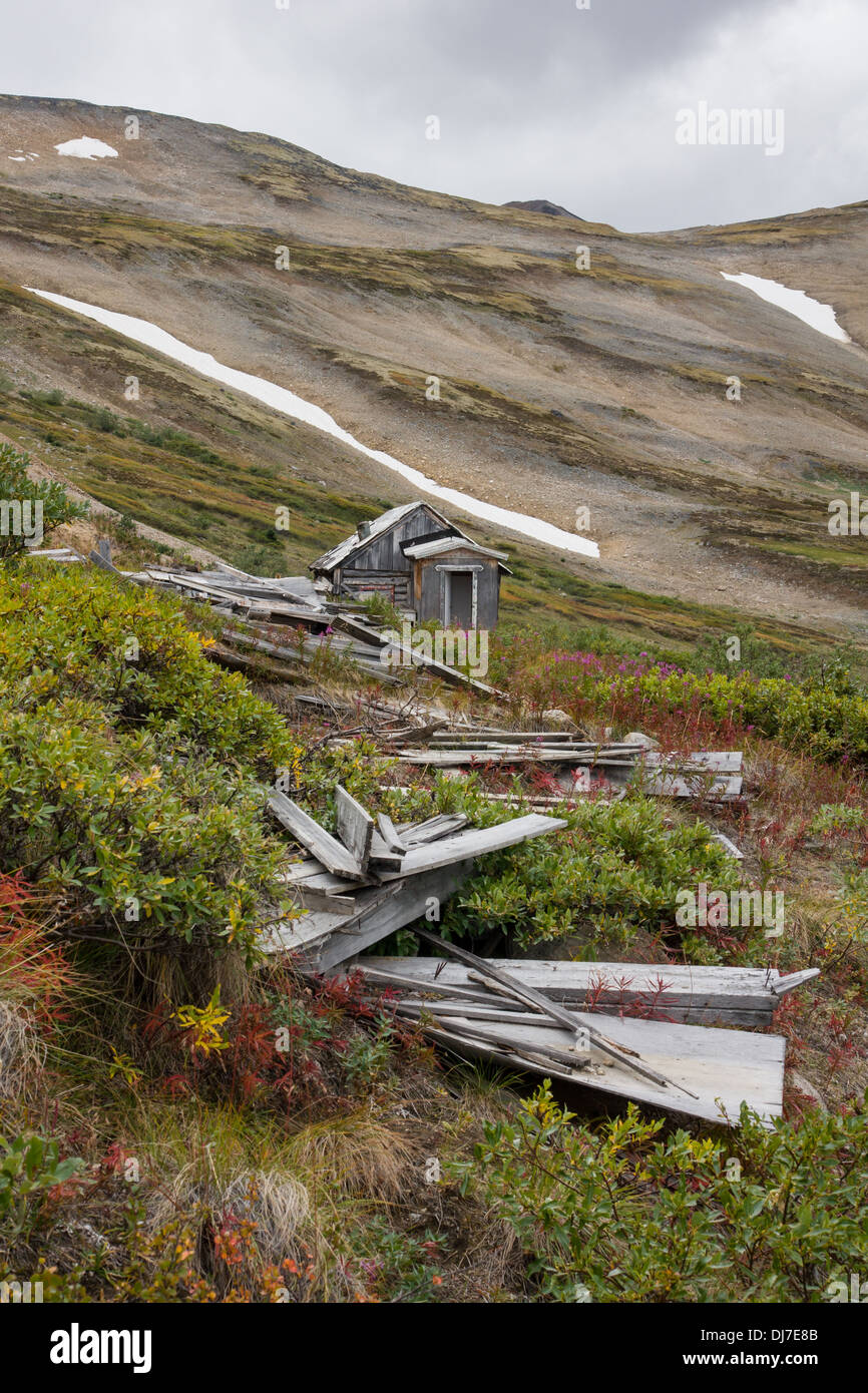 The remnants of an old silver mine near Whitehorse, Yukon Territory - Stock Image
