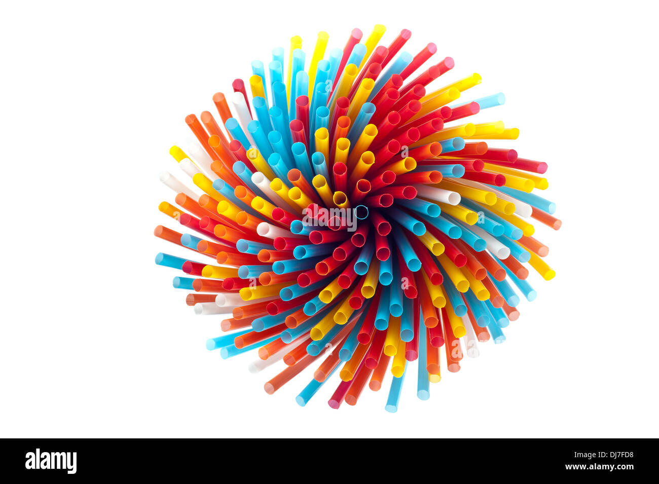 Closeup of drinking straws on white background - Stock Image