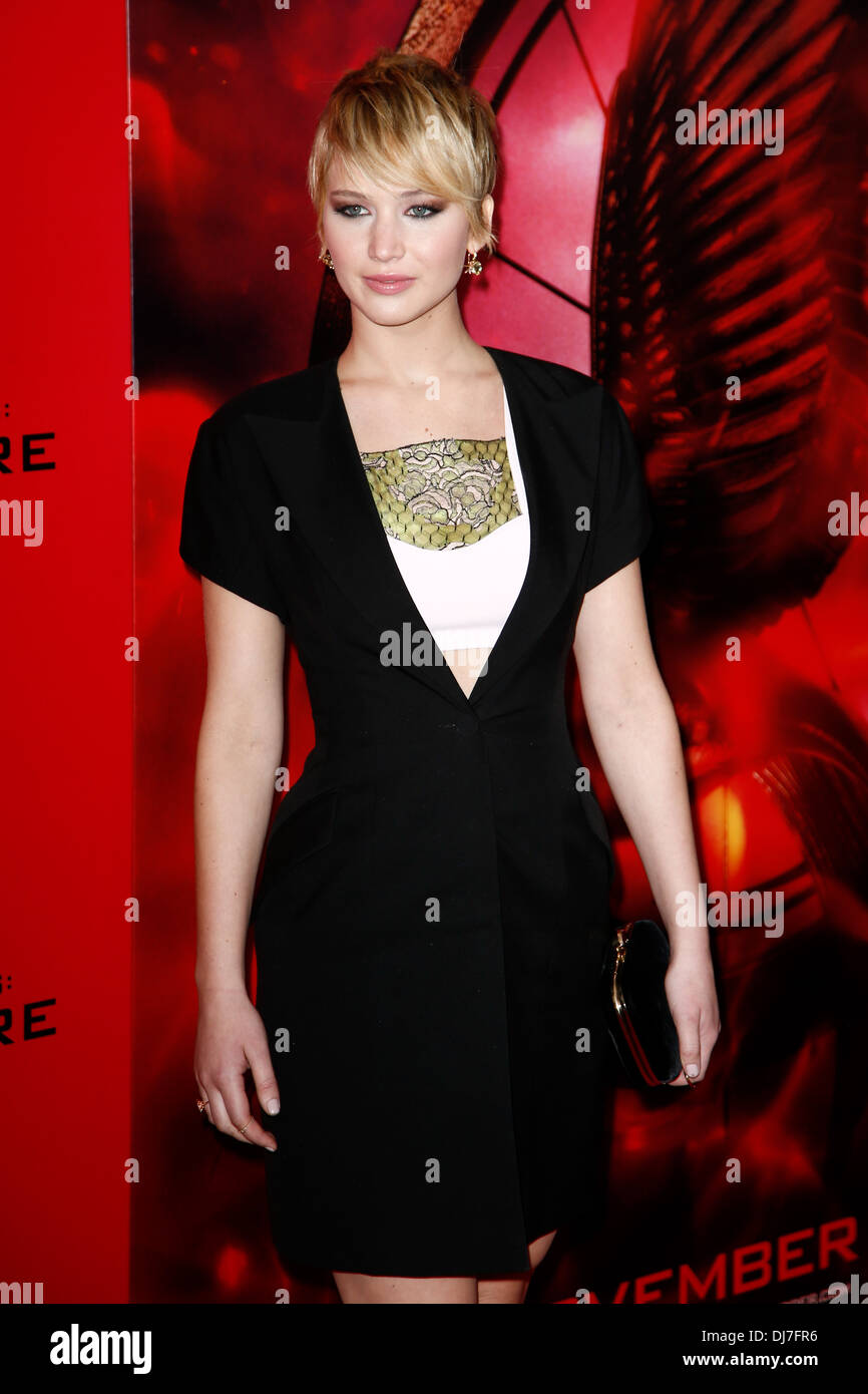 Actress Jennifer Lawrence attends the 'Hunger Games: Catching Fire' premiere at AMC Lincoln Square Theater - Stock Image