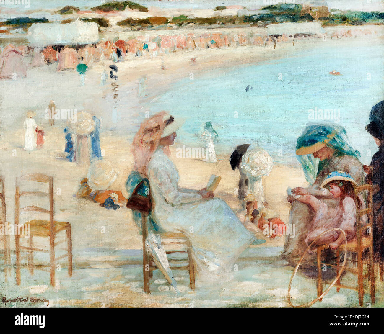 Rupert Bunny, On the beach (Royan). Circa 1908. Oil on canvas. Art Gallery of New South Wales, The Domain, Sydney, Australia. - Stock Image