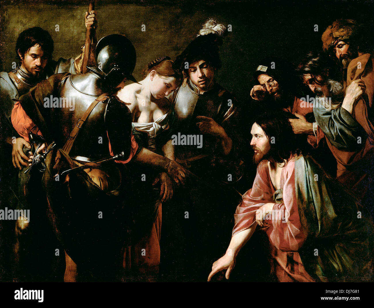 Valentin de Boulogne, Christ and the Adulteress. Circa 1620s. Oil on canvas. The J. Paul Getty Museum. - Stock Image