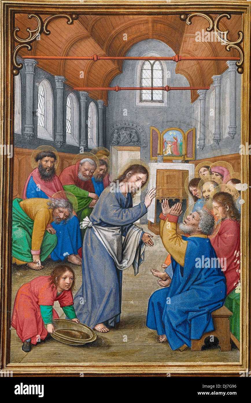 Simon Bening, Christ Washing the Apostles' Feet 1525 - 1530 Tempera, gold paint, and gold leaf on parchment. - Stock Image