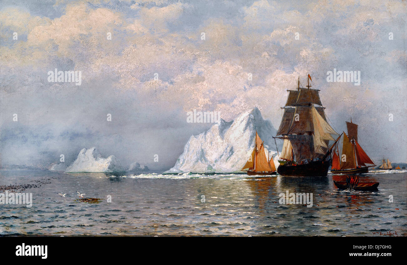 William Bradford, Whaler and Fishing Vessels near the Coast of Labrador. Circa 1880. Oil on canvas. Indianapolis Museum of Art - Stock Image