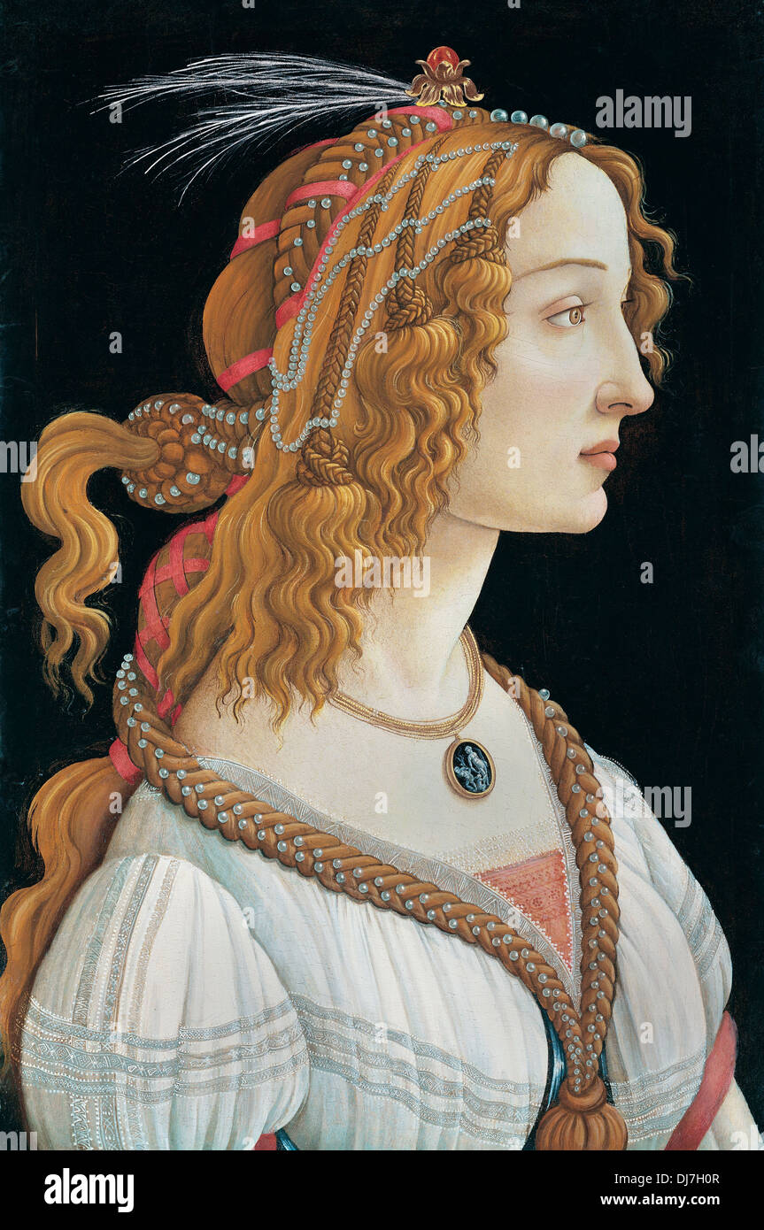 Sandro Botticelli, Idealized Portrait of a Lady. 1480 Tempera and gold on wood. Städel, Frankfurt am Main, Germany. - Stock Image