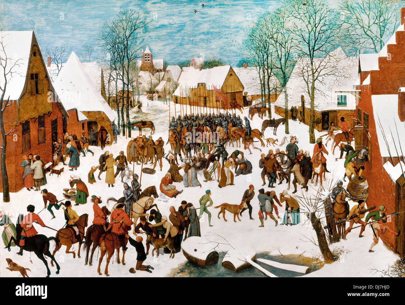 Pieter Brueghel the Elder, Massacre of the Innocents 1565-1567 Oil on panel. Royal Collection of the United Kingdom. - Stock Image