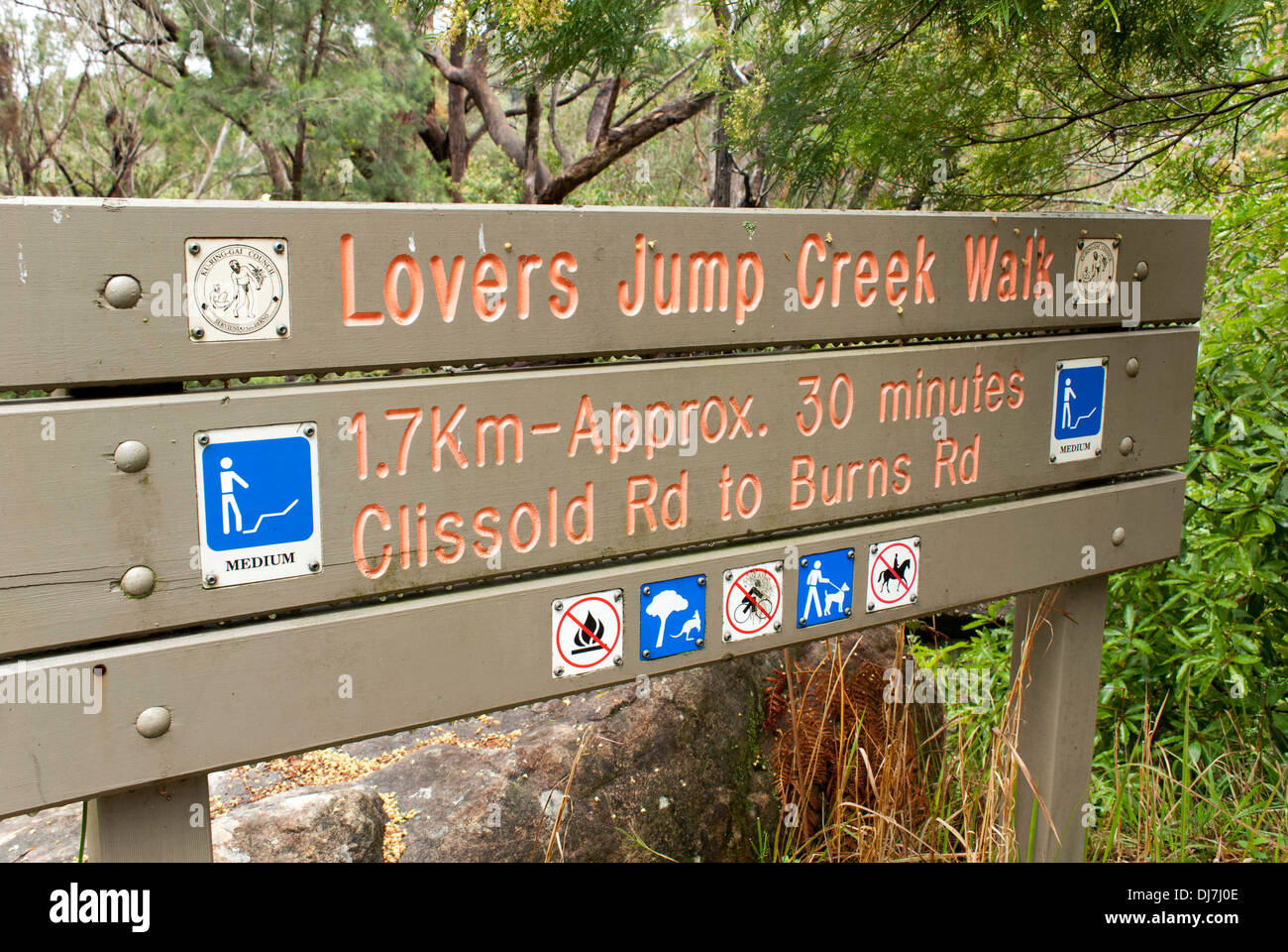 Bush walk signage at Lovers Jump Creek Walk, Sydney, Australia - Stock Image