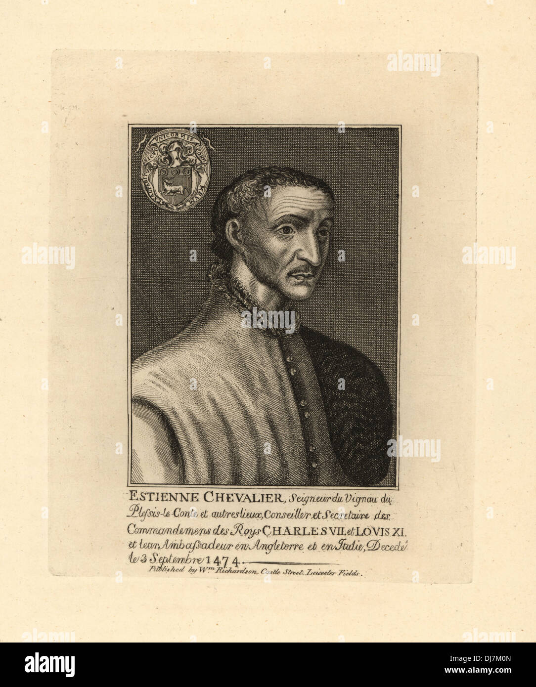 Chevalier Estienne, French Ambassador to King Charles VII and King Louis XI in England and Italy, died 1474. - Stock Image