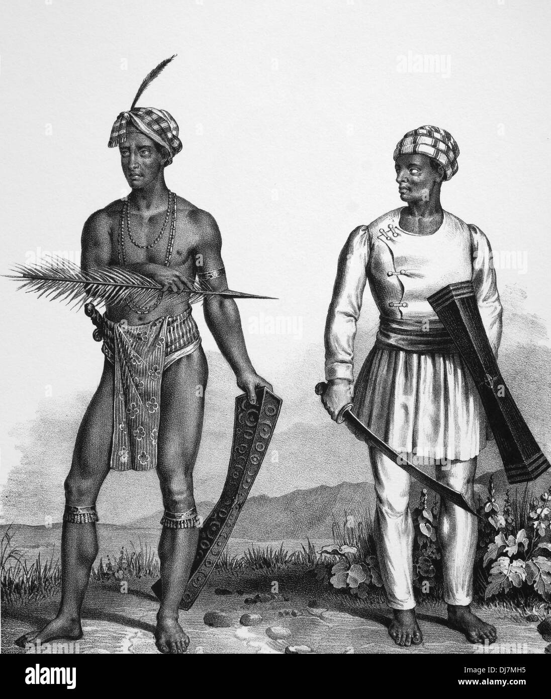 Asia. Indonesia. Men from North Sulawesi, c. 1840. Engraving. - Stock Image