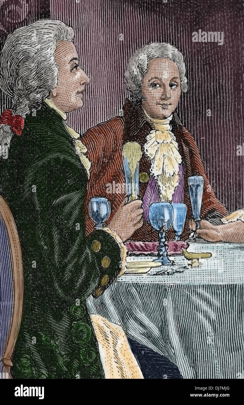 Banquet in honor Mozart . Composer Wolfgang Amadeus Mozart (1756-1791) and the Italian composer Antonio Salieri (1750-1750). Eng - Stock Image