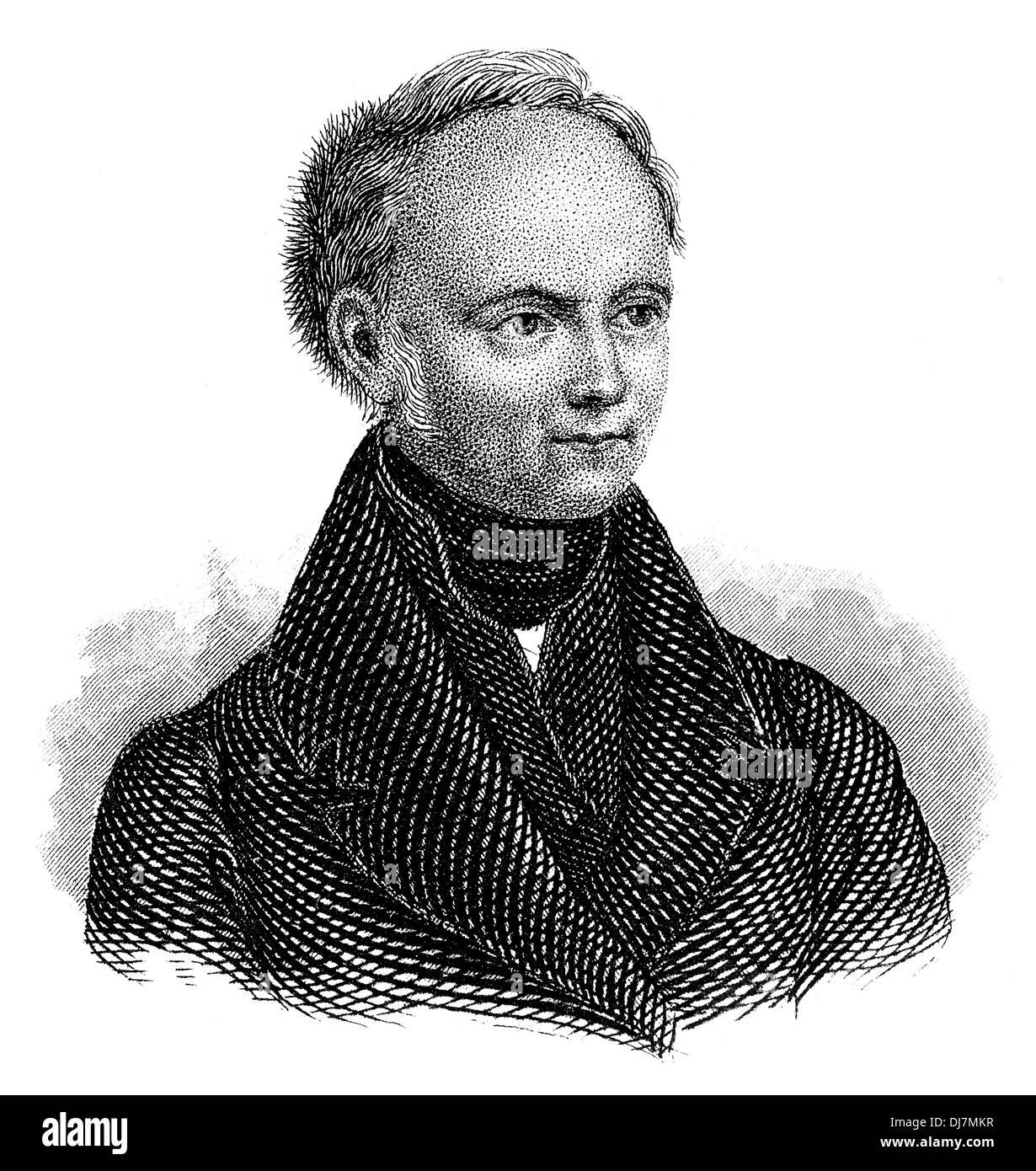 Portrait of Christian Dietrich Grabbe 1801 - 1836, a German dramatist of the Vormärz era, - Stock Image