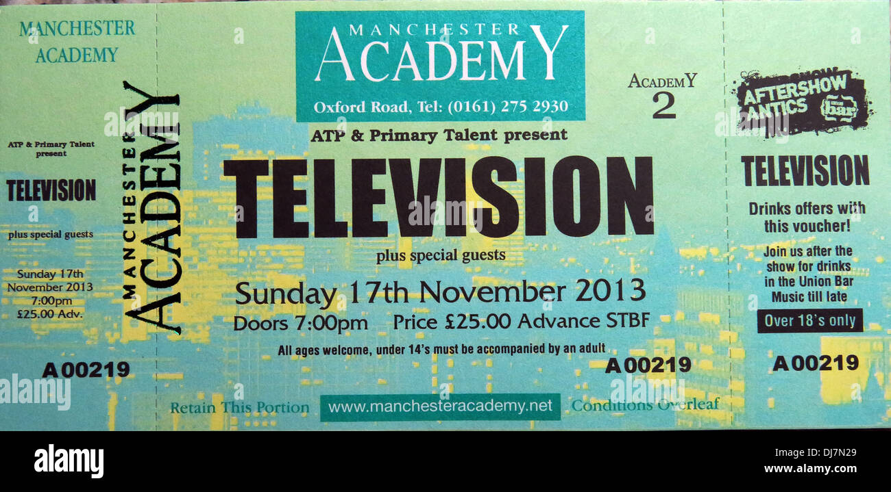 Television concert Manchester Academy 17/11/2013 Ticket Stock Photo