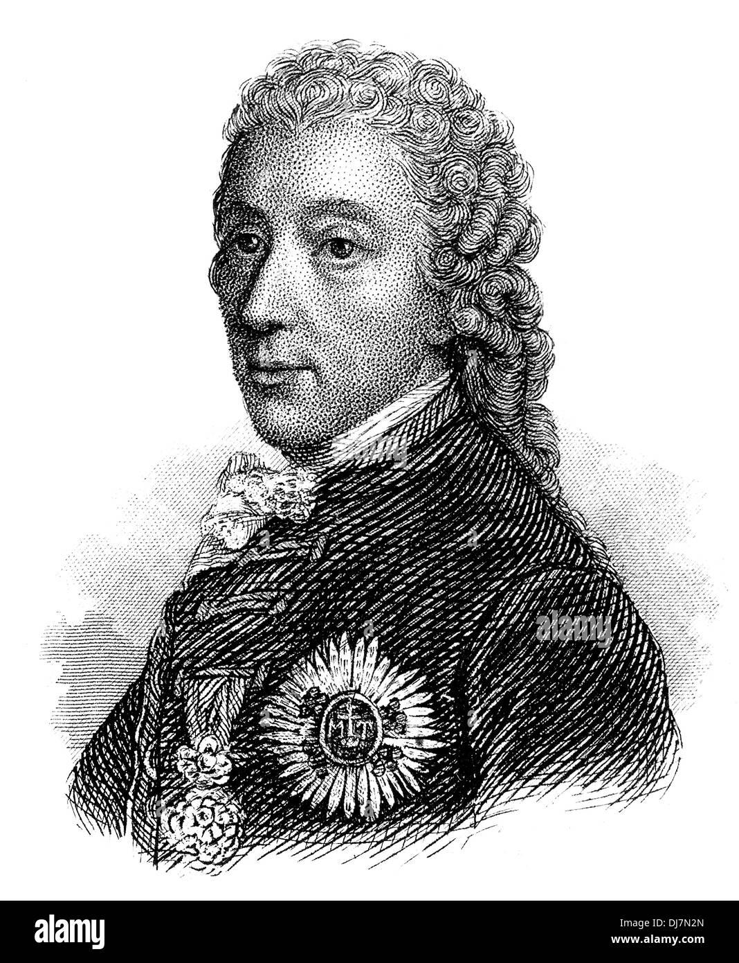 Wenzel Anton Graf Kaunitz, 1711 - 1794, Imperial Prince of Kaunitz-Rietberg, Austrian statesman of the enlightened Stock Photo