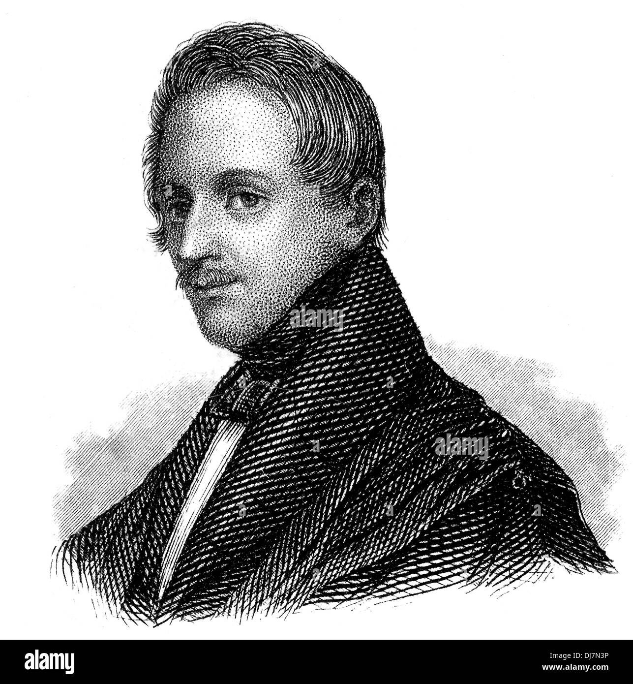 Karl Ferdinand Gutzkow, 1811 - 1878, a German writer, playwright and journalist, Stock Photo