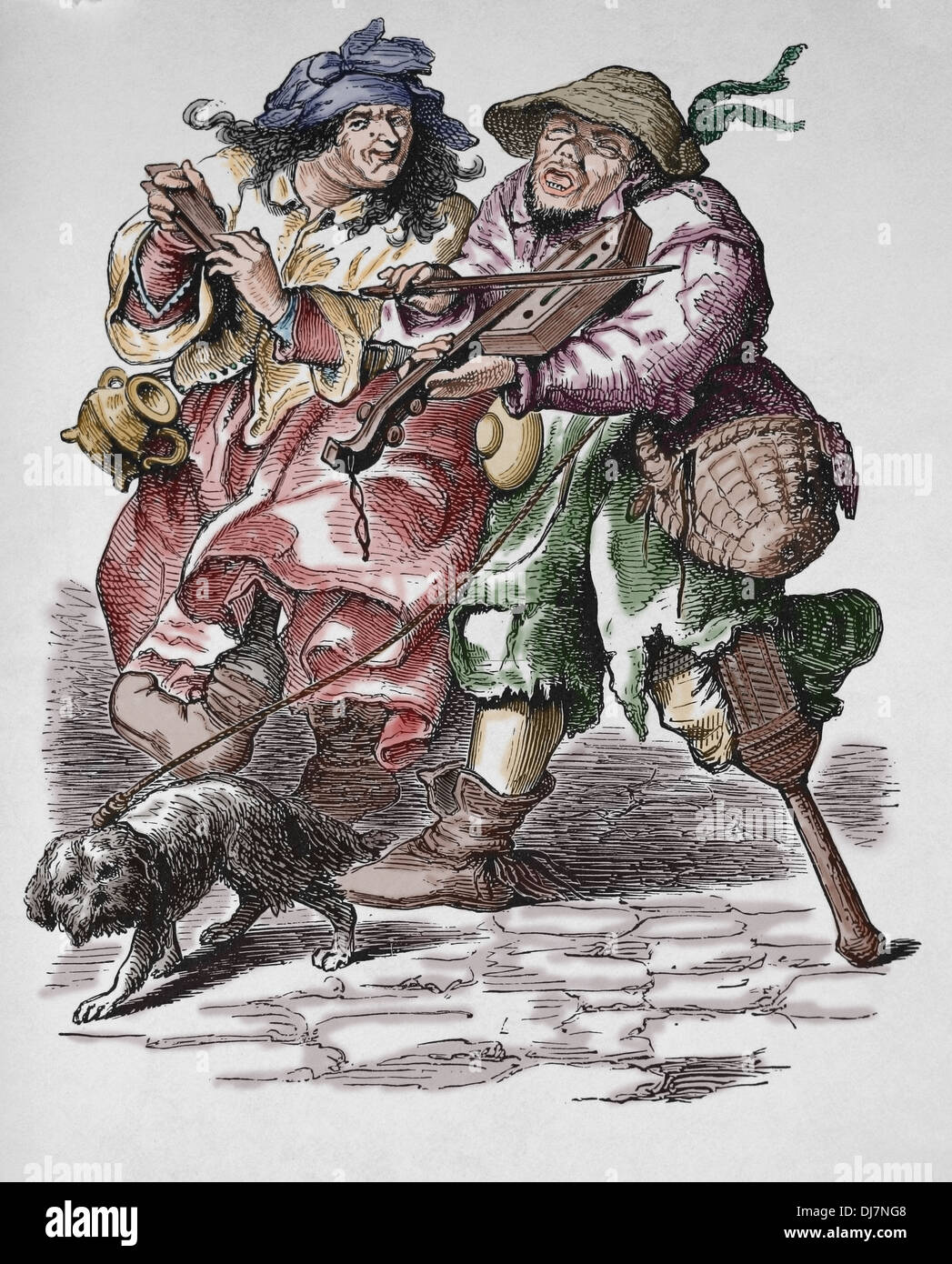 Begging. Musicians. Modern Age. 17th century. Colored engraving. - Stock Image