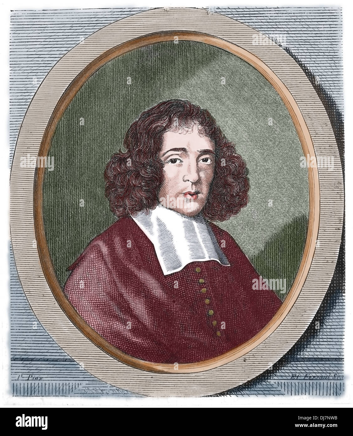 Baruch Spinoza (1632-1677). Dutch philosopher. Engraving by E. Fessard. Copy, 19th century. Stock Photo