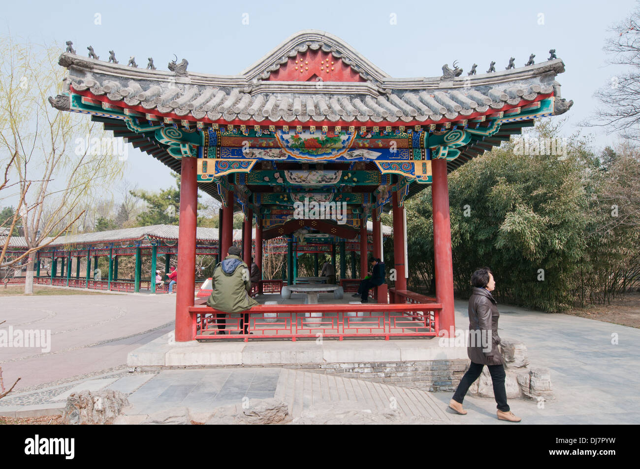 Traditional pavilion in Temple of the Earth area (also called Ditan Park) in Beijing, China - Stock Image