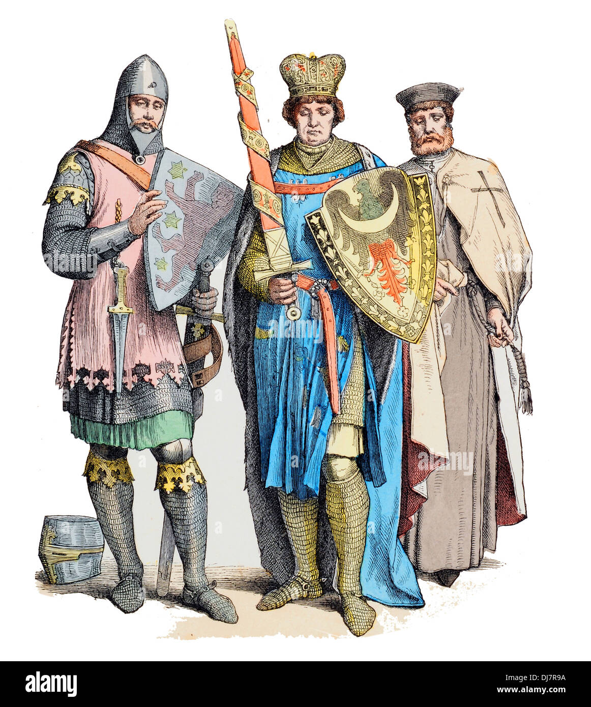 13th Century XIII Germany Medieval Knight  Templar and Prince - Stock Image
