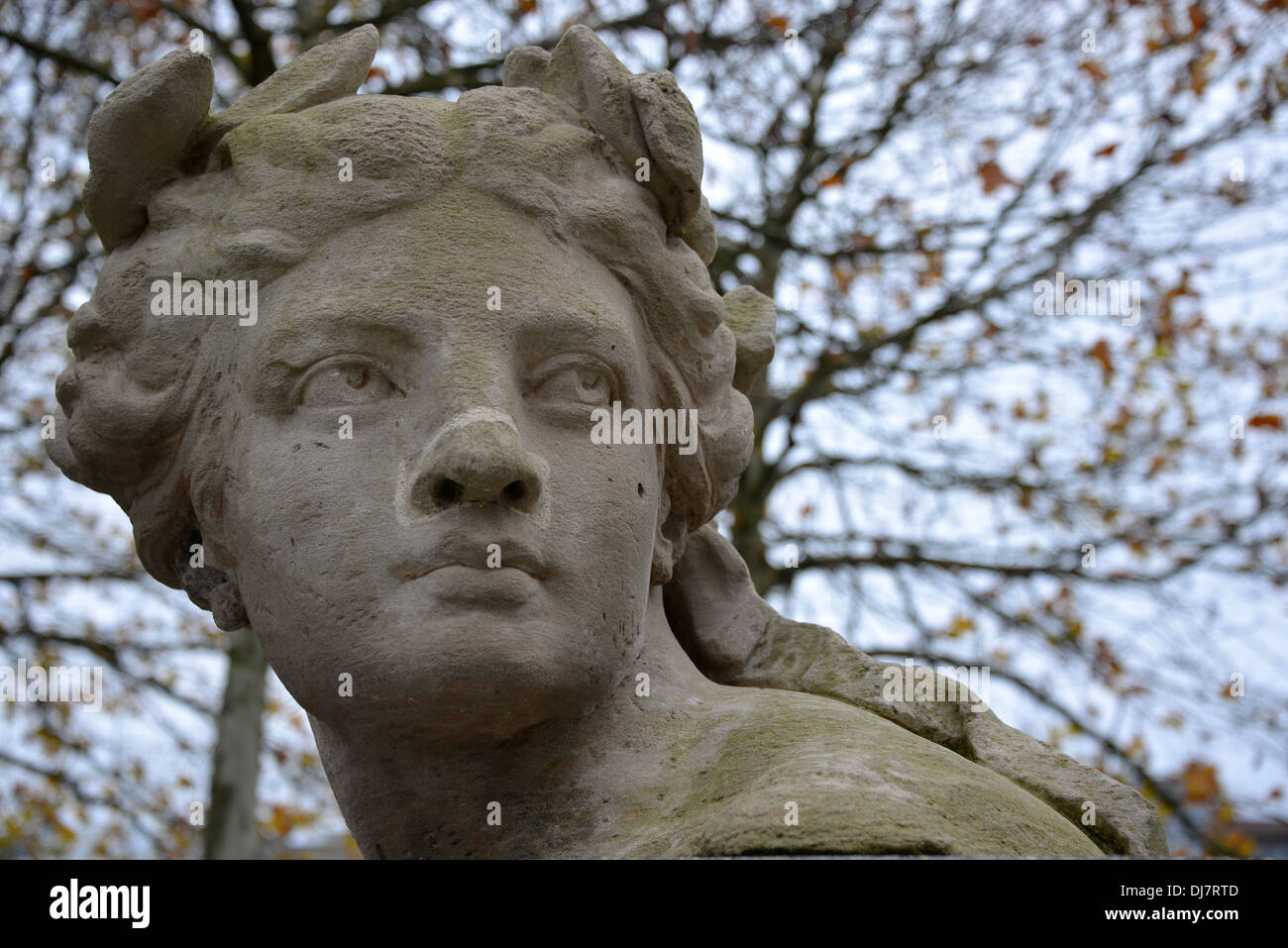The head of an old classic statue - Stock Image