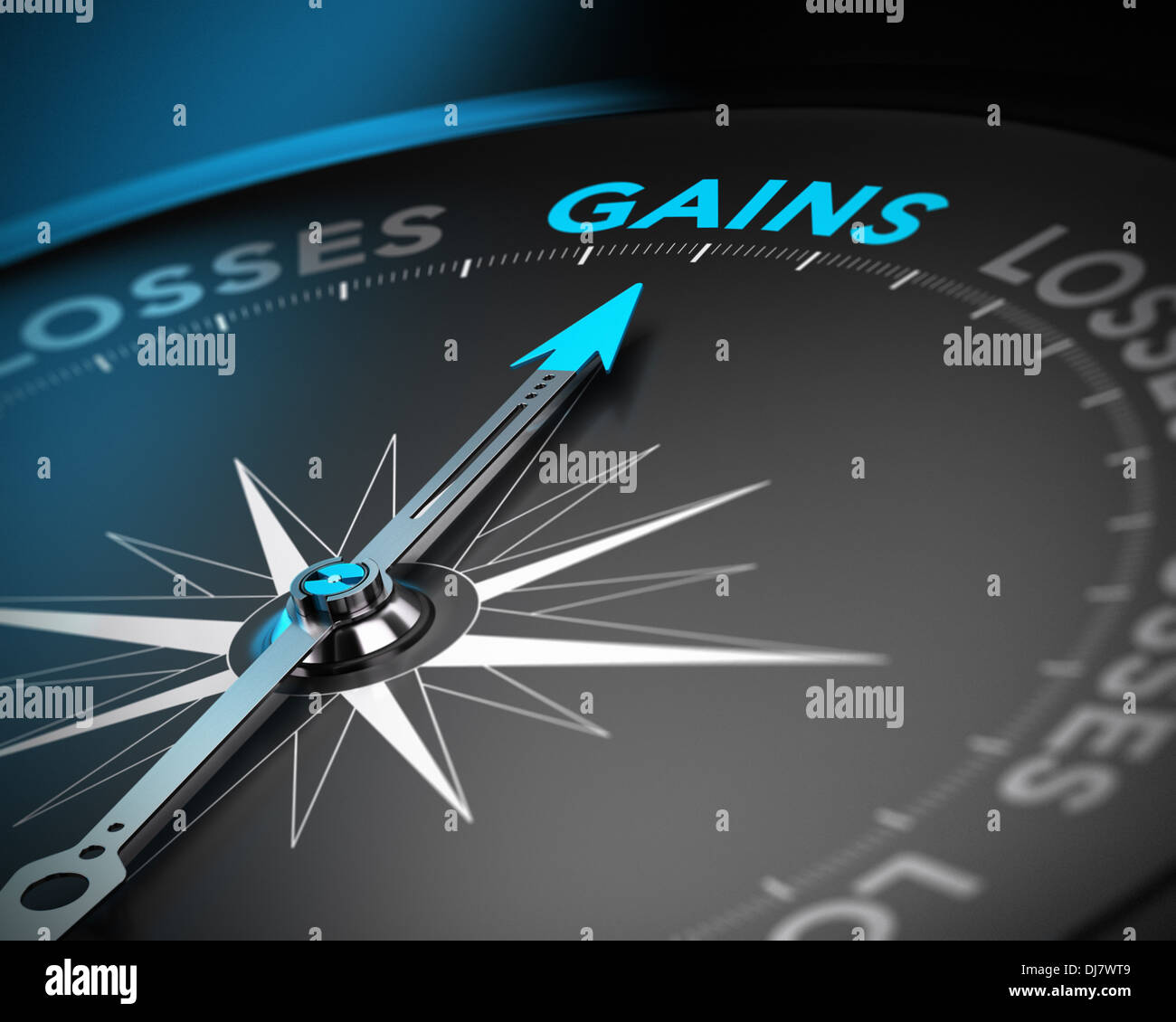 Financial consulting concept. Compass needle pointing the word gains over black background with blur effect - Stock Image