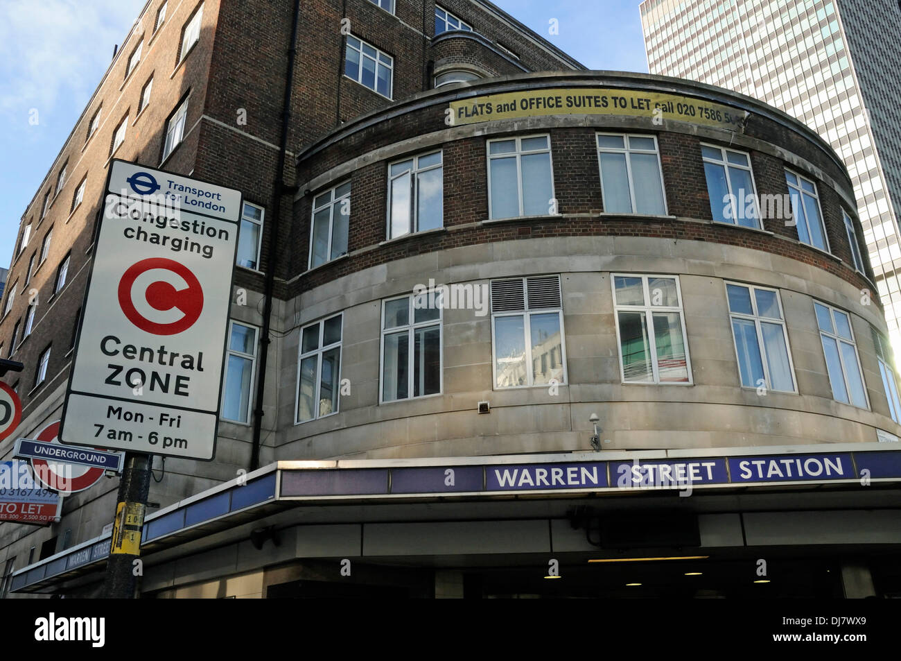 Warren Street Station from outside with Congestion Charging or charge Central Zone sign adjacent, London England UK - Stock Image
