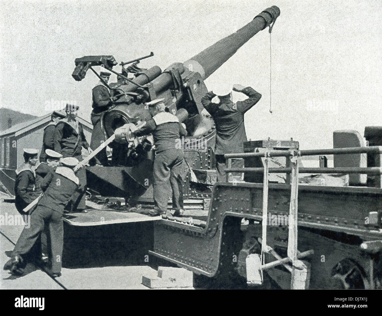This photo taken aboard a British warship in the North Sea during World War I shows the crew positioning an anti-aircraft gun. - Stock Image