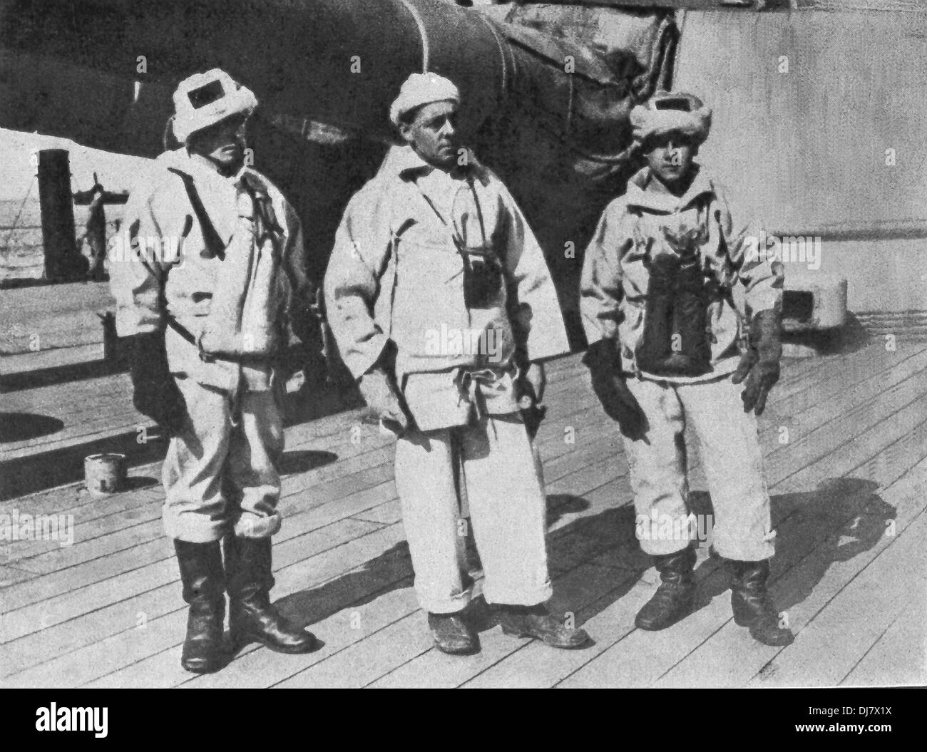 This photo shows British Commander Chetwode (middle) with British military personnel in the North Sea during World War I. - Stock Image