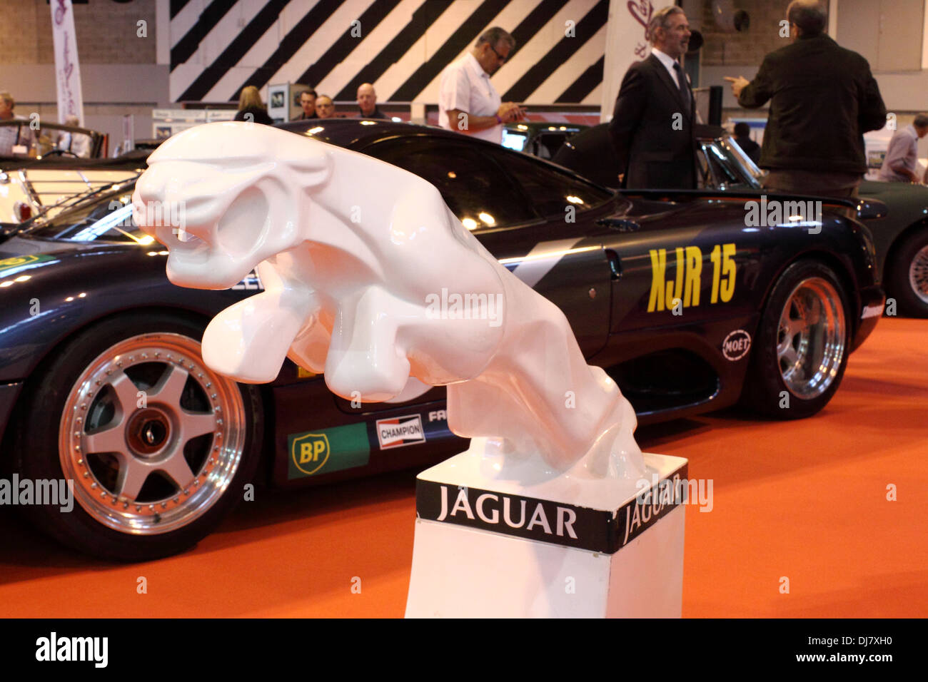leaping Jaguar model on display in the Jaguar stand at the 2013 Birmingham NEC Classic Car Show - Stock Image