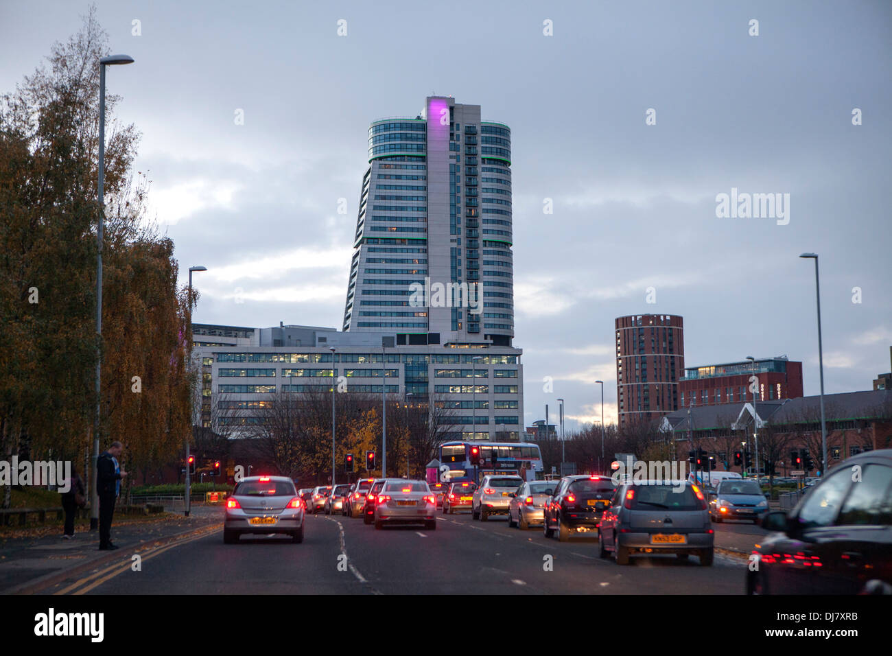 Bridgewater Place, nicknamed The Dalek in Leeds city centre West Yorkshire at dusk - Stock Image