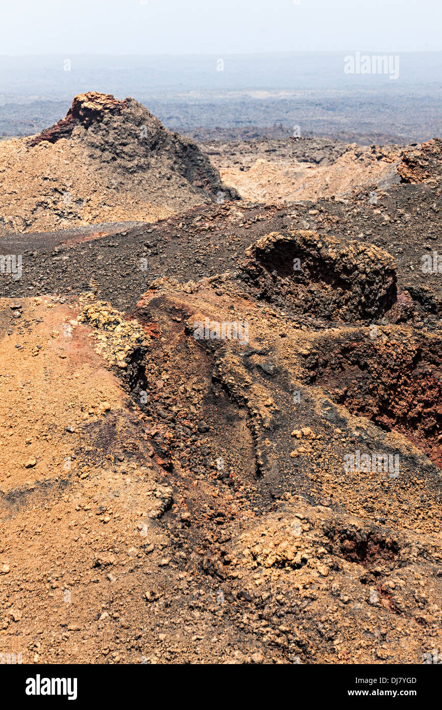 Lava field, Timanfaya, Lanzarote, Canary Islands, Spain - Stock Image