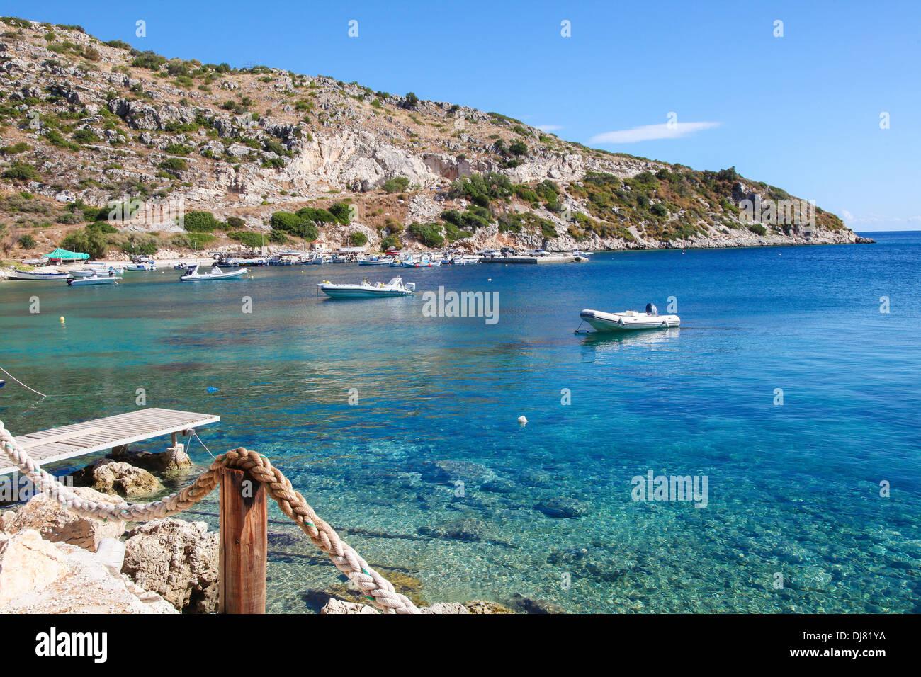 ZAKYNTHOS, GREECE - SEPT 21: Small boats at a beach in Zakynthos, Ionian islands, Greece, on September 21, 2013. - Stock Image