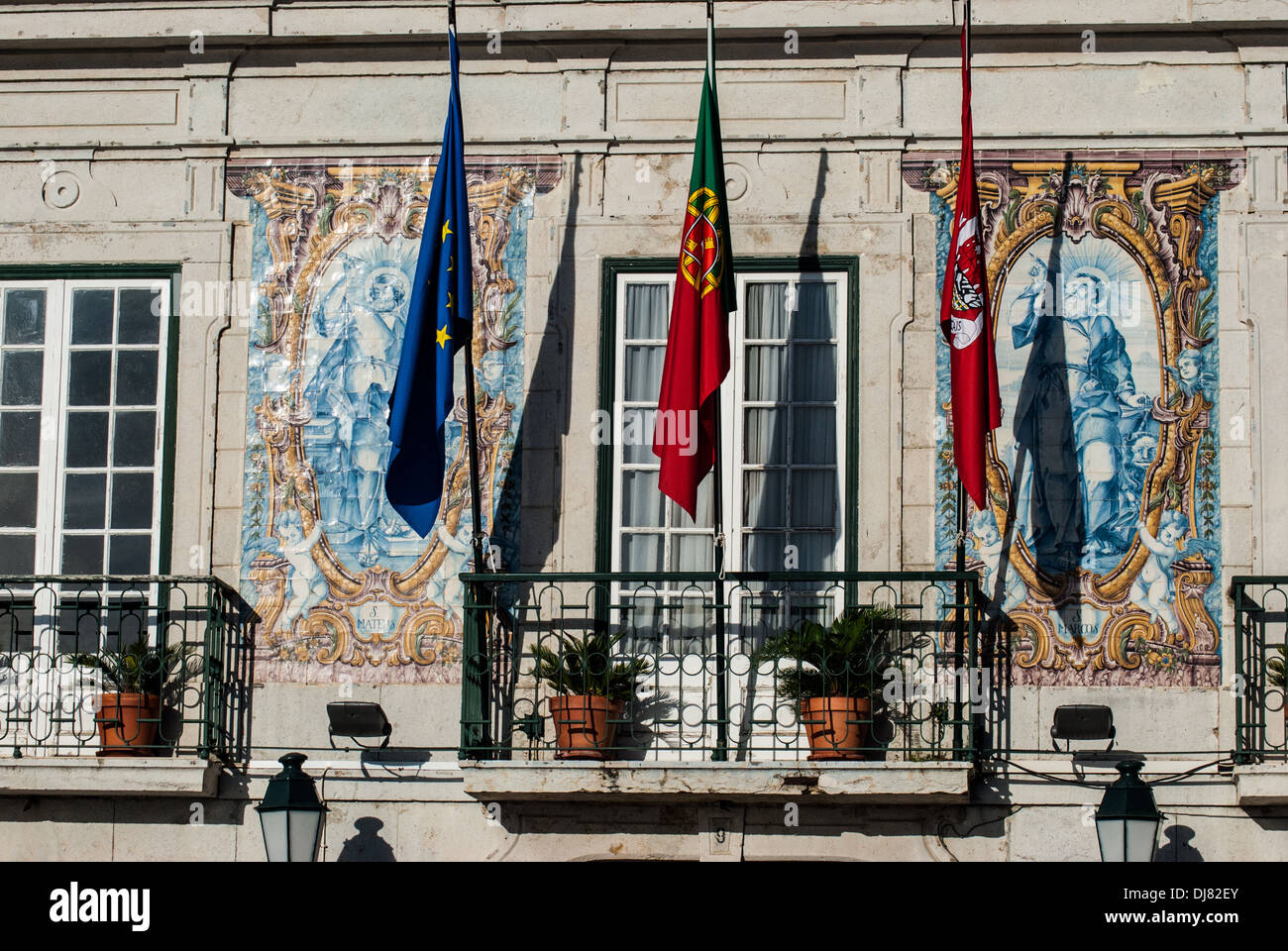 European Union flag and Portuguese flag in Cascais Portugal - Stock Image