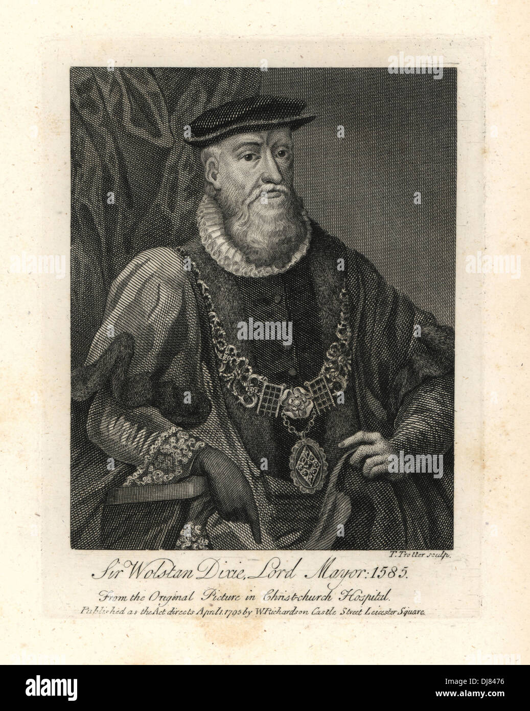 Sir Wolstan Dixie, Lord Mayor of London, died 1585. - Stock Image