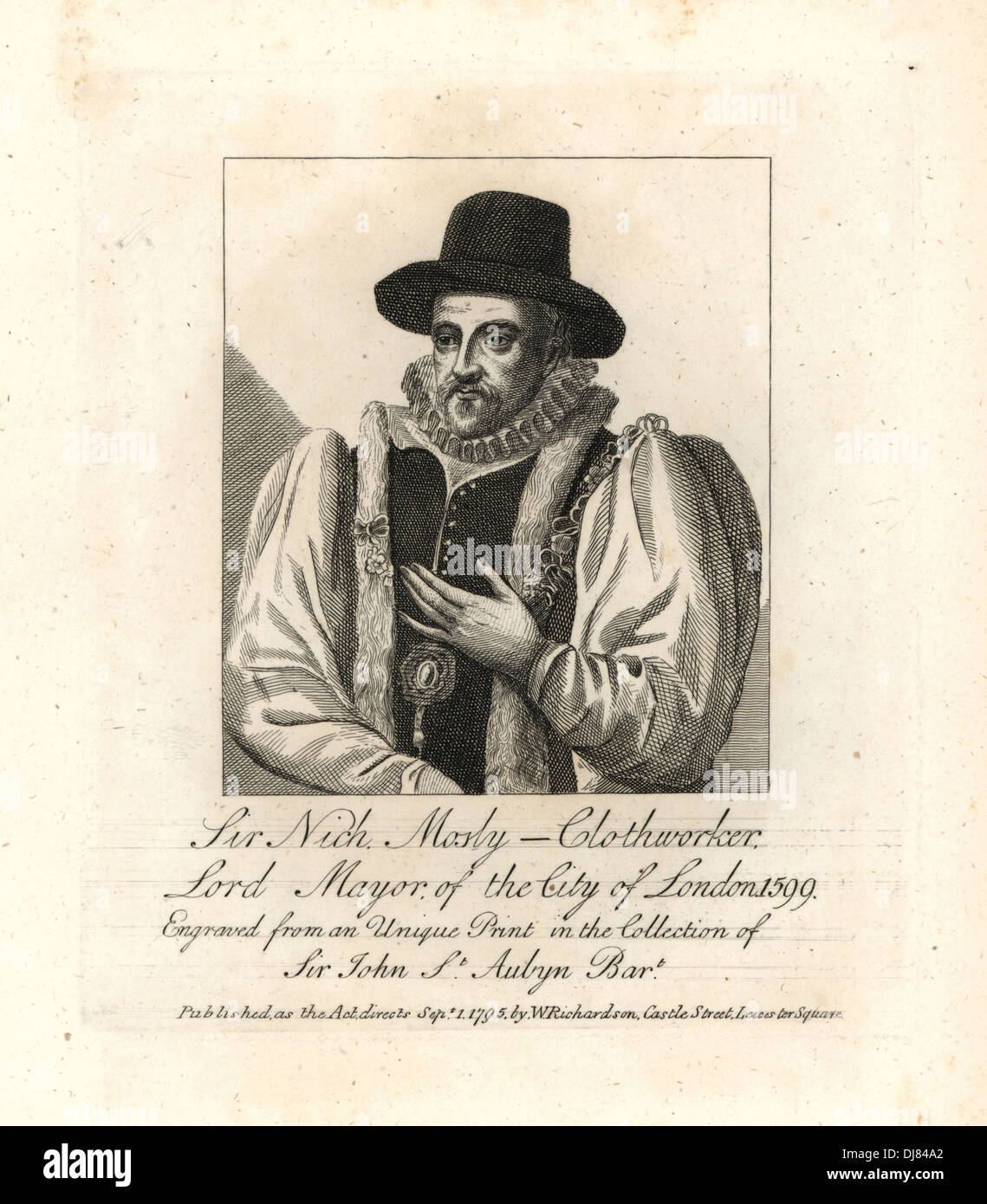 Sir Nicholas Mosly, Clothworker, Lord Mayor of London, 1599. - Stock Image