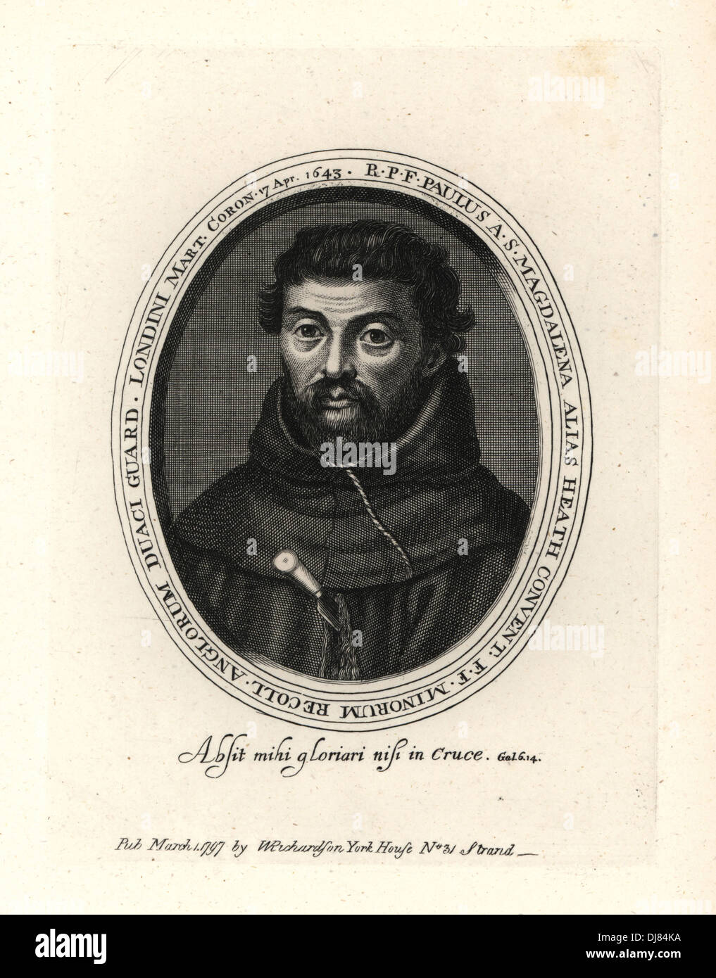 Blessed Henry Heath, Franciscan martyr, hanged in London in 1643. - Stock Image
