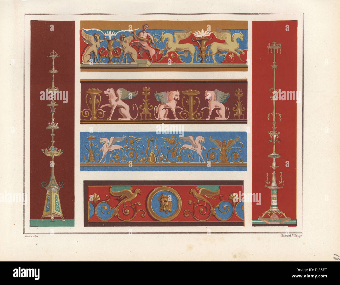 Murals of candelabra, griffin, frieze and arabesque from Pompeii. - Stock Image