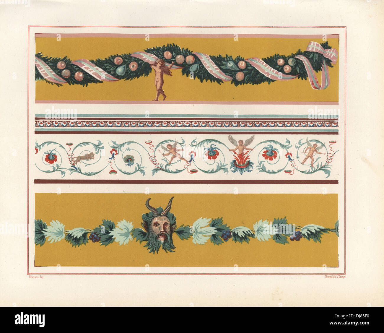 Wall paintings of foliage, fruit and cupid, arabesque, and garland with leaves and head of Pan. - Stock Image