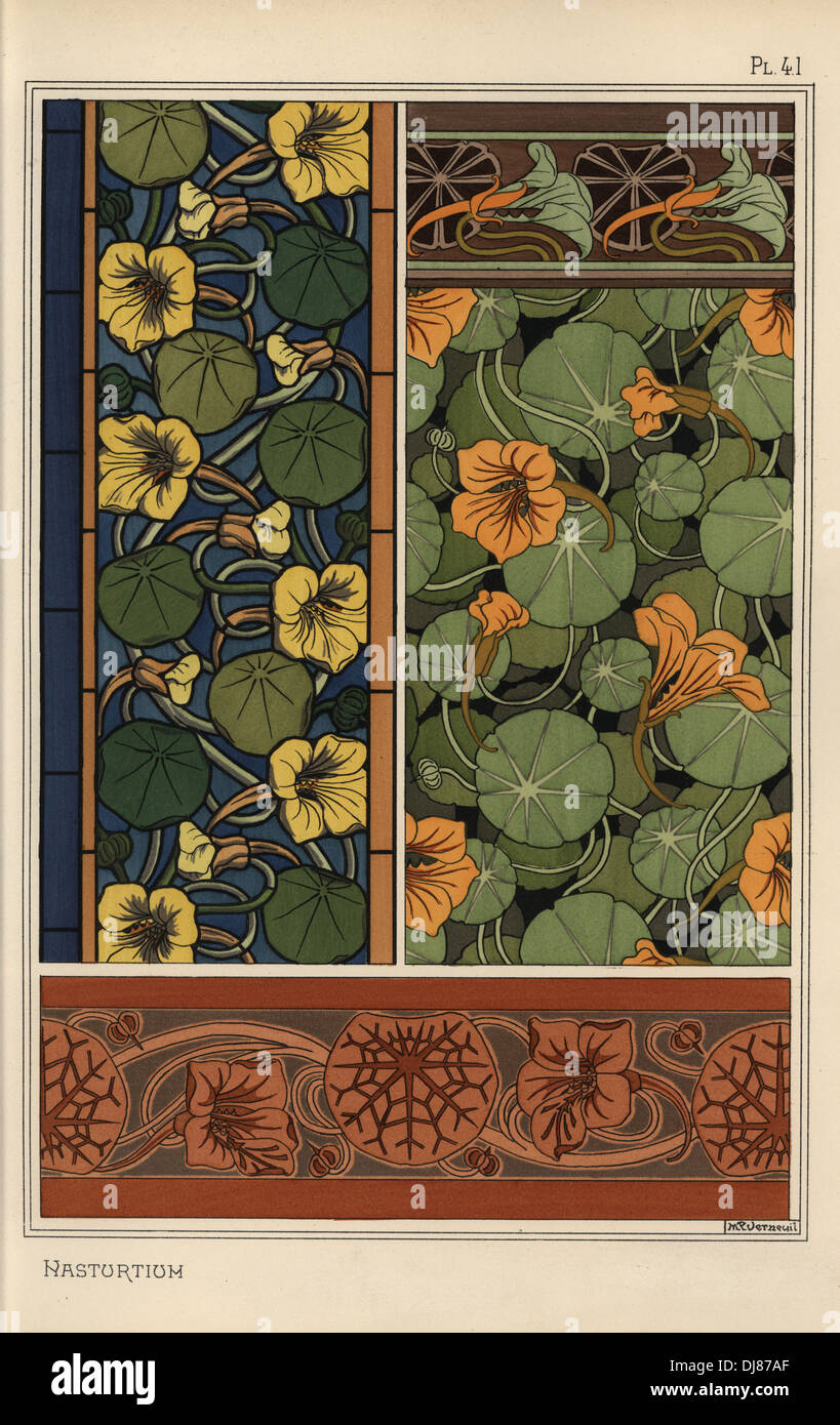 Nasturtium in art nouveau patterns for wallpaper, borders and stained glass. - Stock Image
