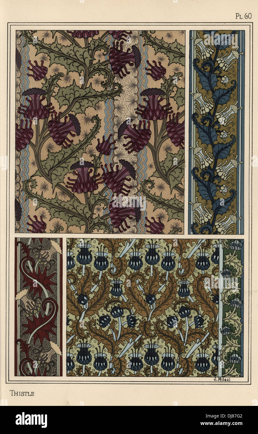 Thistle in art nouveau patterns for wallpaper and fabrics. - Stock Image