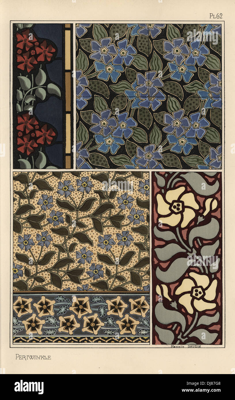 Periwinkle in art nouveau patterns for wallpaper, stained glass and fabrics. - Stock Image
