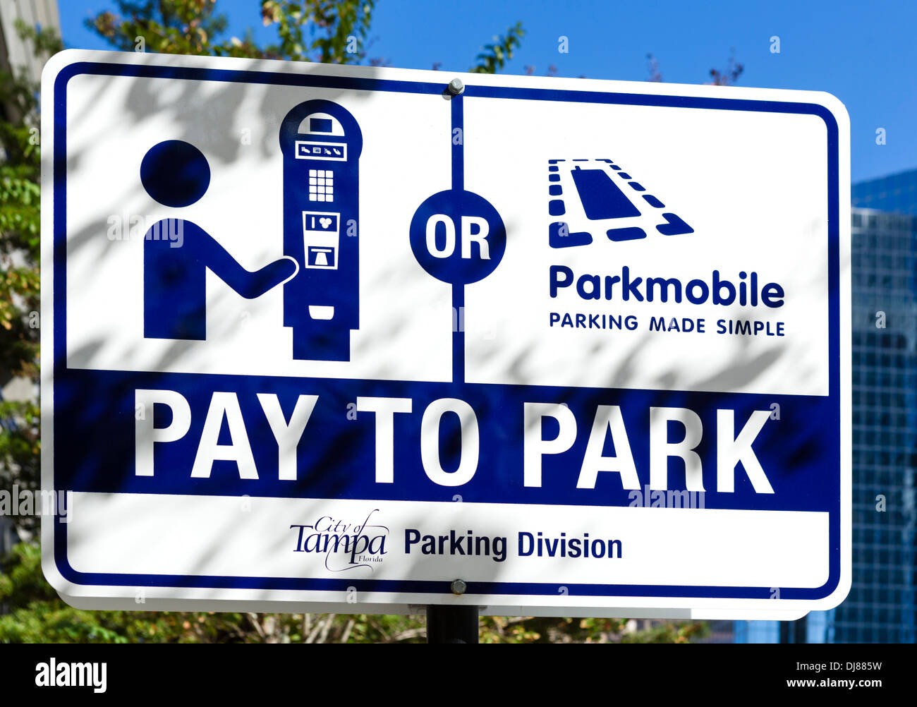 Pay to Park sign, centralised street parking system, Tampa, Florida, USA - Stock Image