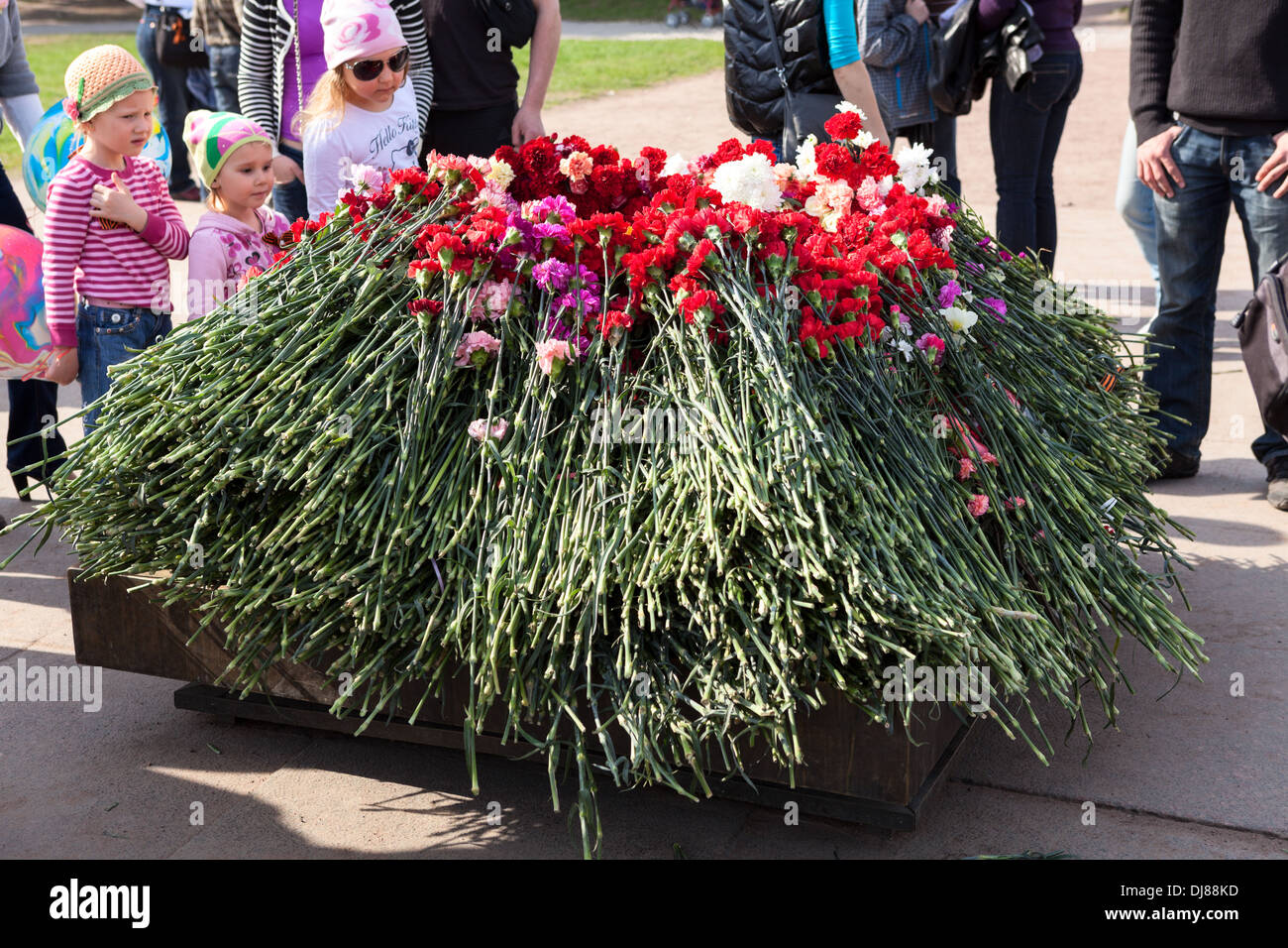Red carnations on the eternal flame at the Field of Mars in St. Petersburg. Russia. Victory Day, May 9 - Stock Image