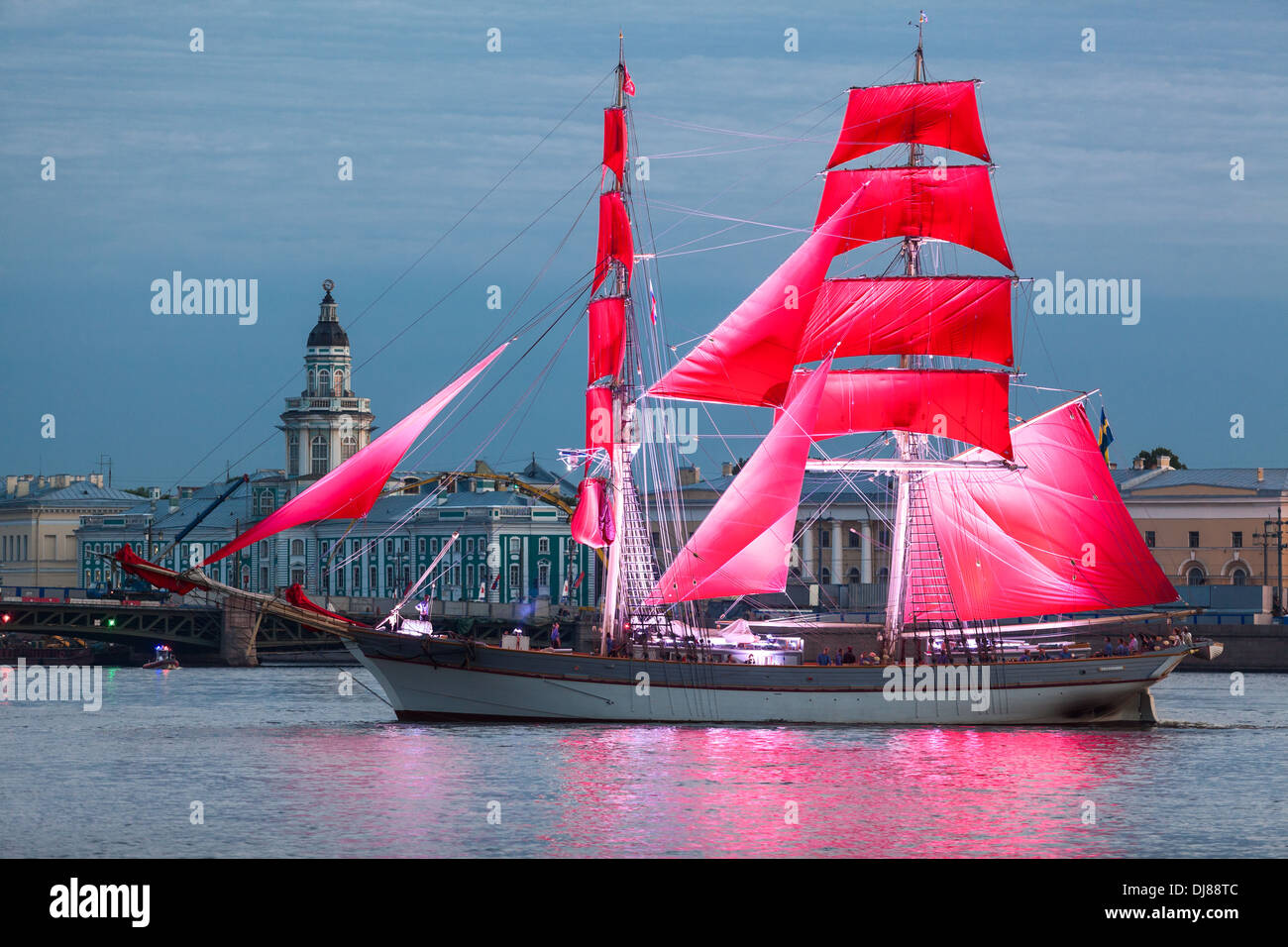 Celebration Scarlet Sails show during the White Nights Festival, St. Petersburg, Russia. Ship near Palace bridge - Stock Image